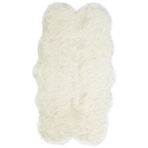 faux fur area rug ivory ecarpet gallery royale quatro ivory acrylic faux fur 3 ft 2 in x 5 ft 9 in area rug 226968