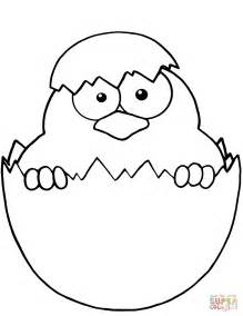 chicken egg coloring page yellow chick peeking out of an egg shell coloring page