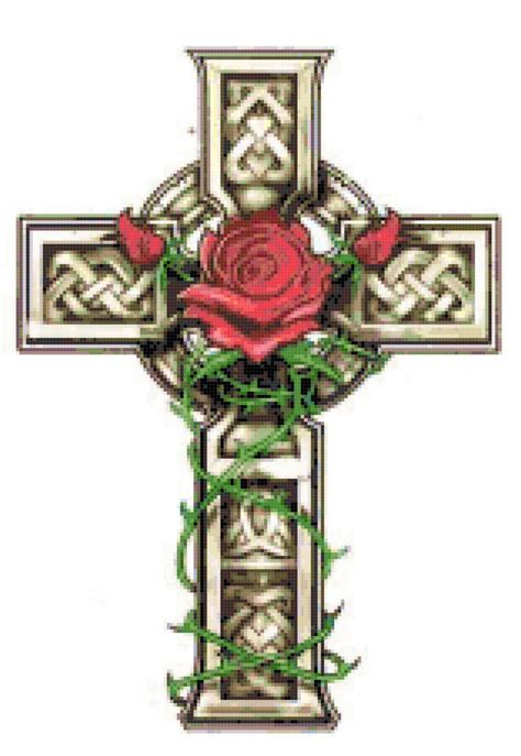 rose tattoo with cross celtic cross with and vines cross stitch pattern