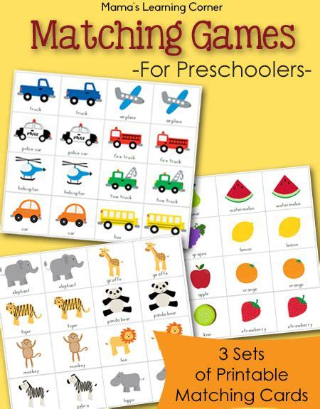 printable games for preschoolers free printable match game packet fruit animals zoo