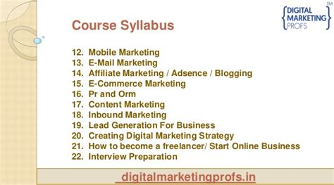 Mba Digital Marketing Syllabus by Best Courses Of Advance Digital Marketing Courses Details