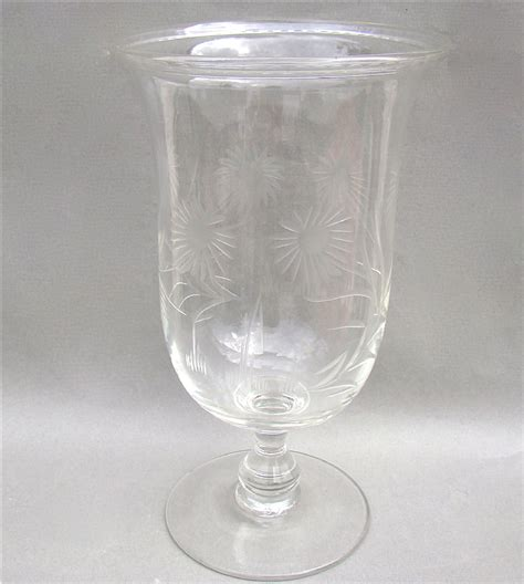 Antique Celery Vase by Engraved Glass Celery Vase Circa 1880