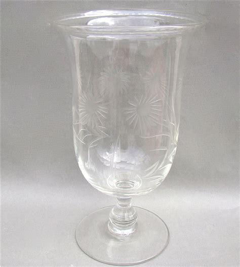 Victorian Glass Vase Victorian Engraved Crystal Glass Celery Vase Circa 1880