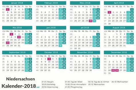 Kalender 2018 Niedersachsen Feiertage Feiertage Niedersachsen 2018