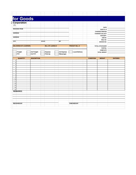receipt template messenger acknowledgement receipt template pdf sheet