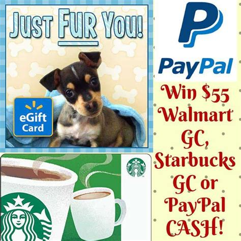 Starbucks Gift Card Paypal - win 55 paypal cash or choice of starbucks walmart gift card