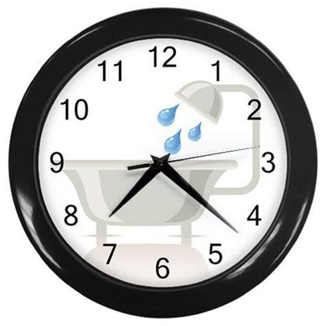 Black Bathroom Clocks White Bathtub Plastic Black Frame Battery Operated Novelty