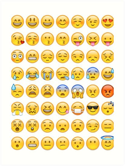 all iphone emoji faces quot all faces emoji collage quot art prints by callmejkay redbubble