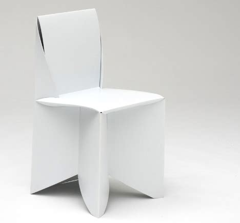 Folding Paper Chair - origami style paper thin patio ready white folding chairs