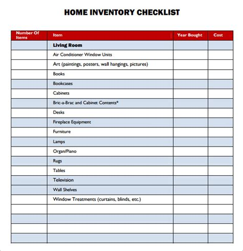 personal property inventory template sle property inventory template 9 free documents