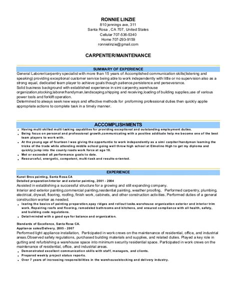 Maintenance Carpenter Cover Letter by Resume Exles Templates Effective Letter Of Application Carpenter Cover Letter For Resume Car