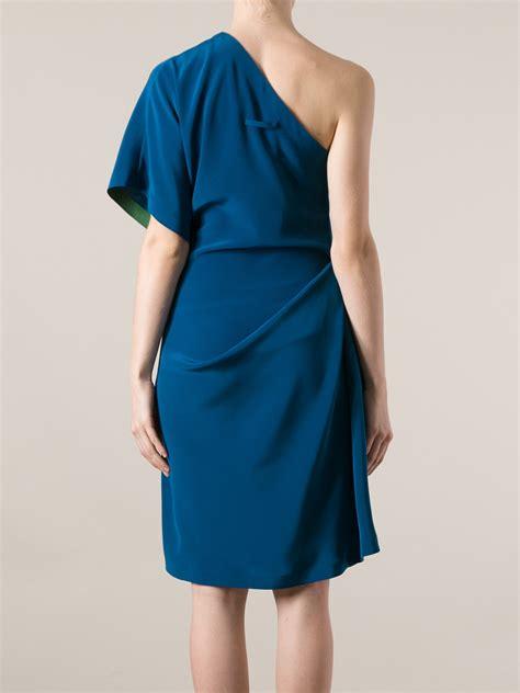 Blue Shoulder Dress 25059 lyst jean paul gaultier draped oneshoulder dress in blue