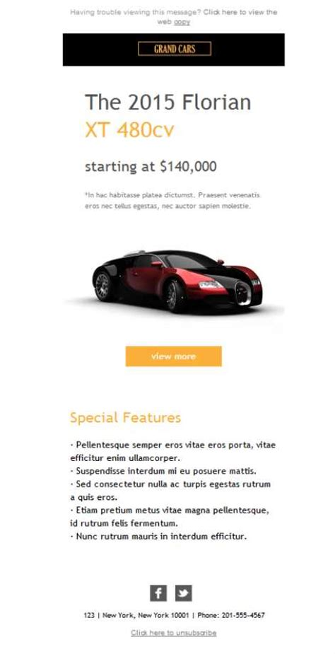 Free Email Templates Download Design Auto Luxury Sales Car Sales Newsletter Template