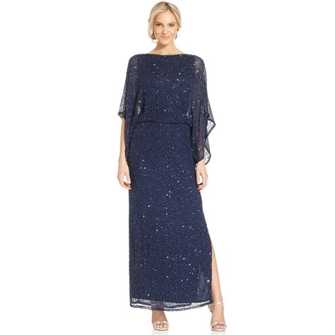 beaded blouson dress lyst patra kimonosleeve beaded blouson gown in blue