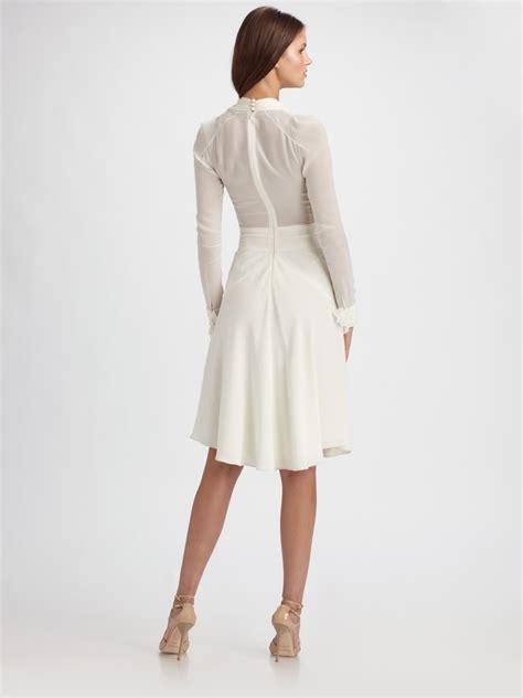 zac posen crepe chiffon sleeve dress in white lyst