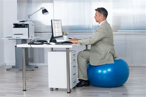 exercise size for sitting at desk how to use an exercise chair plus standing desk