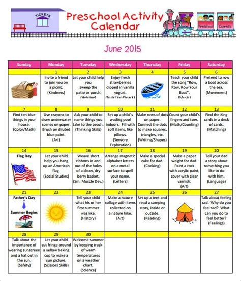 Resume Free Sample by Sample Monthly Calendar Preschool Activity Calender