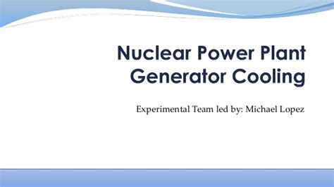 Mba Nuclear Energy Management by Nuclear Power Plant Generator Cooling