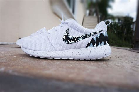 black and white pattern nikes custom nike roshe run shoes white with grey and black