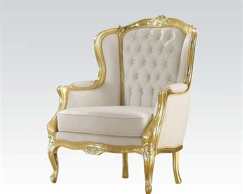 Furniture Accent Chair by Acme Furniture Gold Frame Accent Chair Ac59144