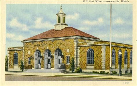Post Office Lawrenceville by Postcards From County Illinois
