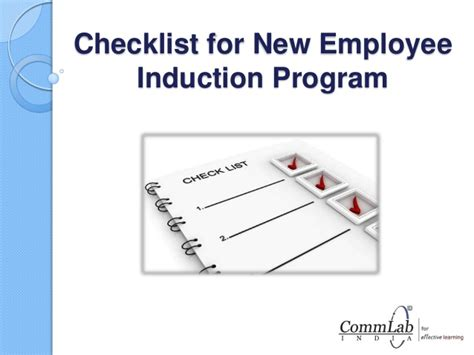 induction template for new employee checklist for new employee induction program