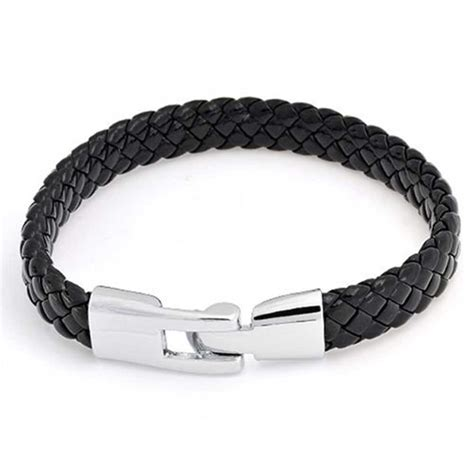 flat leather for jewelry mens black braided 8mm flat leather cord bracelet