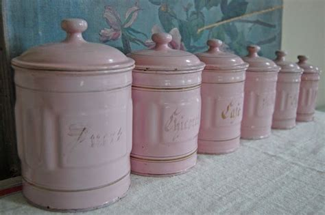 pink kitchen canister set ahhhh enamel things i pastel pink kitchens and