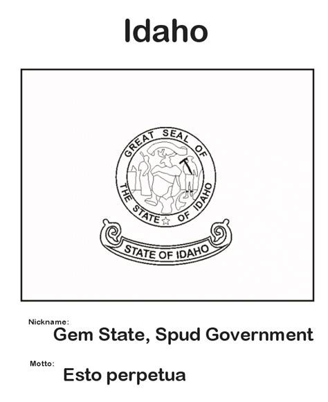 usa printables idaho state flag state of idaho coloring