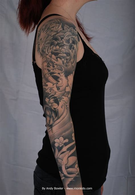 black and grey tattoo monki do studio custom japanese sleeve by andy