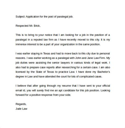 email cover letter for application email cover letter exle 10 free documents