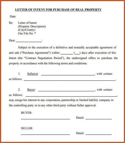 letter of intent real estate real estate letter of intent template format exle sle