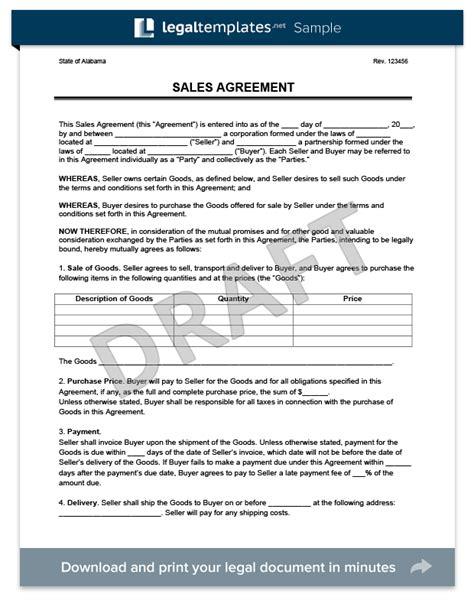 Sales Agreement Create A Free Sales Agreement Form Contract For Sale Of Goods Template Free