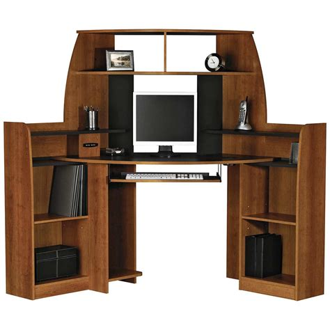 Plywood Corner Desk Brown Veneer Plywood Corner Computer Table With Shelves And Monitor Stand Also Pull Out Keboard
