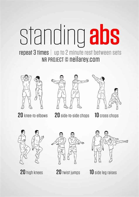 top standing ab exercises  workouts  burn belly fat