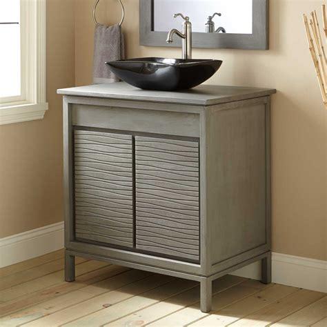 30 Bathroom Vanity With Sink 30 Quot Becker Teak Vessel Sink Vanity Gray Wash Bathroom Vanities Bathroom