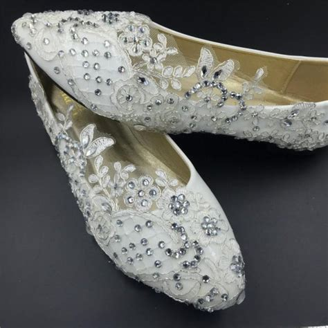 Lace Wedding Flats by Vintage Lace Crystals Wedding Shoes Bridal Ballet Flats