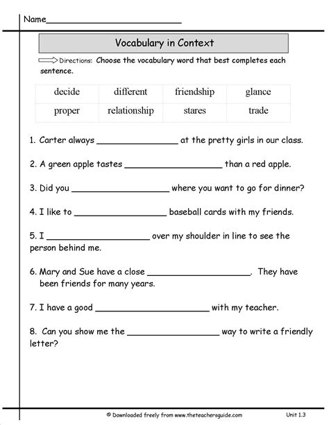 Vocabulary Context Clues Worksheets by Vocabulary In Context Worksheets Calleveryonedaveday
