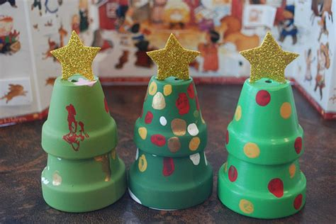 mini clay pot christmas trees