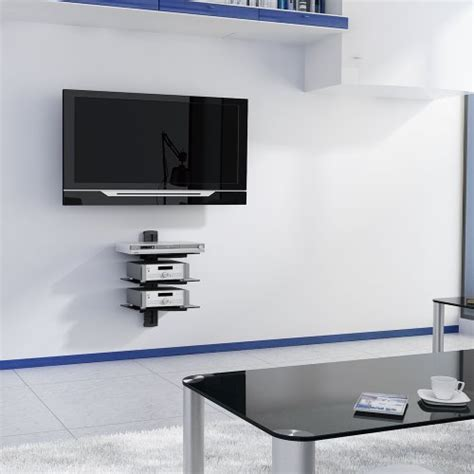 Tv Accessories Wall Shelf by Vonhaus 3x Black Floating Shelves With Strengthened