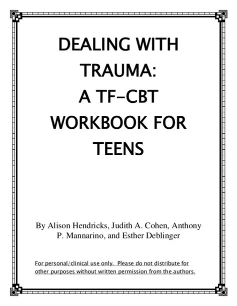 Tf Cbt Worksheets by Dealing With A Tf Cbt Workbook For