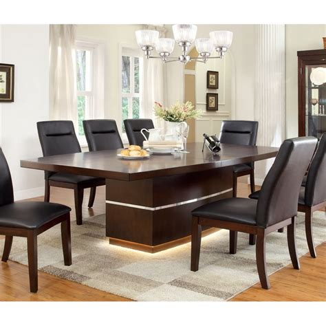 Led Dining Table Furniture Of America Braylin Led Dining Table In Cherry Idf 3130t