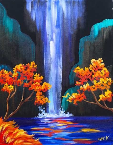 how to preserve acrylic paint on canvas autumn aloha tropical waterfall step by step acrylic