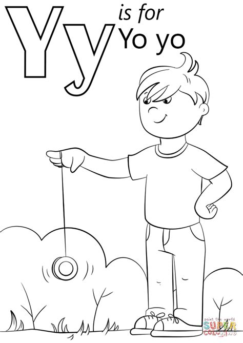 letter y is for yo yo coloring page free printable
