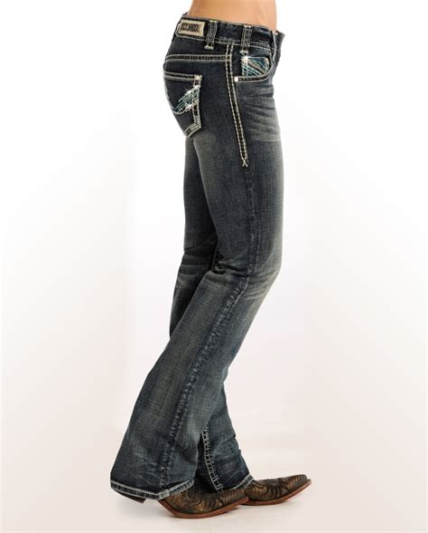 low rise boot cut rock roll denim 174 ivory turquoise low rise boot