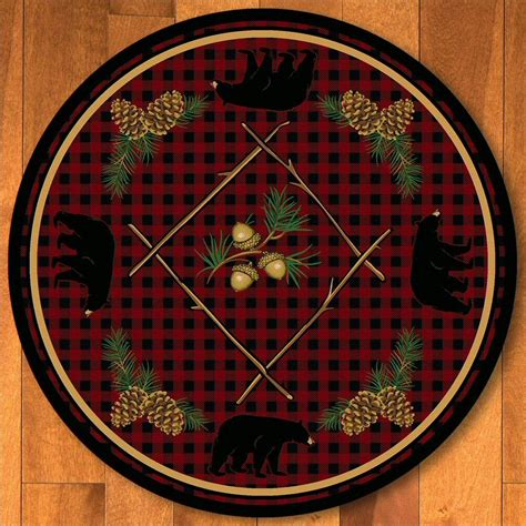 Coupon Code For Rugs Usa 8 Deep Woods Bear Red Wildlife Round Rug Floor Rug