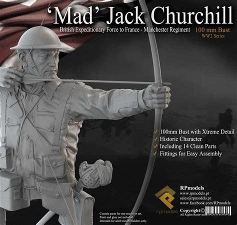 Sci Fi Home Decor by Rpmodels 100mm Mad Jack Churchill Bust Hrp80003