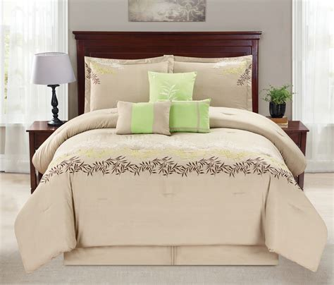 7 piece leaf vine embroidered beige green comforter set