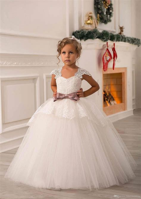 2in1 Flower Tutu Dress Anak ivory lace beaded 2016 gown flower dresses