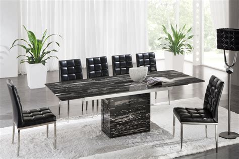 Black Marble Dining Table And Chairs Zeus Black Nero Marble Extending Dining Table 6 D 214 Chairs